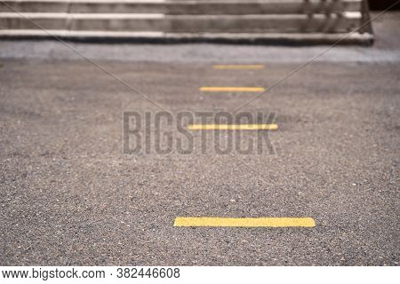 Social Distance Concept. Keep Near Yellow Line. School Pandemic Isolation. Safe Lockdown Paint. Queu
