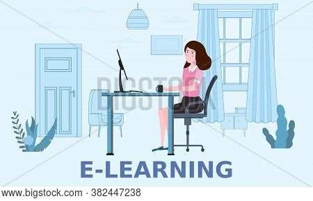E-learning Girl Studying With Computer And Books, Smile. The Concept Of Online Learning At Home, Onl