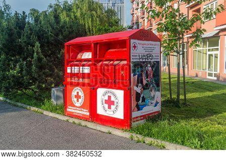 Rzeszow, Poland - June 13, 2020: Container For Clothing Polish Red Cross (polish: Polski Czerwony Kr