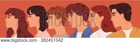 Group Of Young Man And Woman Looking One Direction Vector Flat Illustration. Face Profile Of Male An