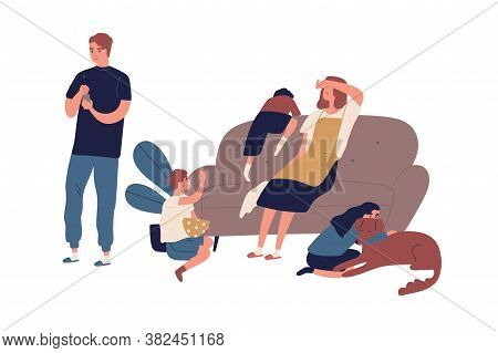 Tired Mother Having Many Children Sitting On Couch After Tough Day Vector Flat Illustration. Indiffe