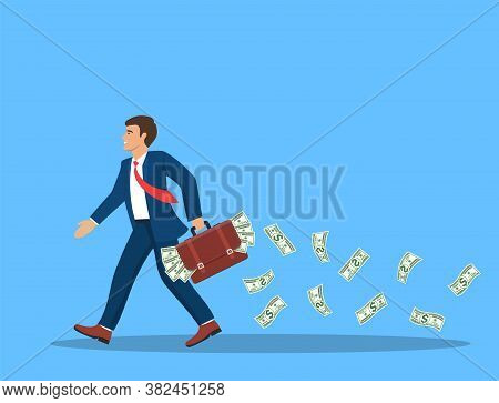 Businessman With A Full Briefcase Of Money In Hand And Cash Fly And Fall Behind. Concept Abundance O
