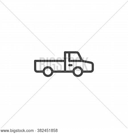Pickup Truck Line Icon. Linear Style Sign For Mobile Concept And Web Design. Suv Truck Outline Vecto