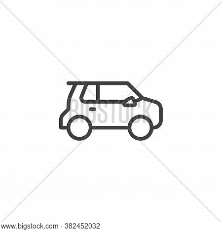 Modern Electric Car Line Icon. Linear Style Sign For Mobile Concept And Web Design. Suv Car Outline