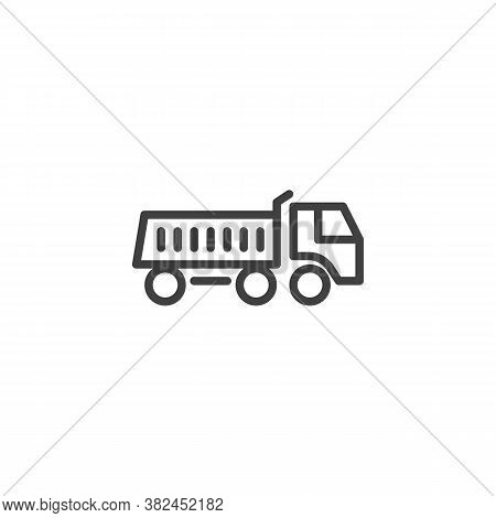 Dump Truck Line Icon. Linear Style Sign For Mobile Concept And Web Design. Tipper Truck Outline Vect