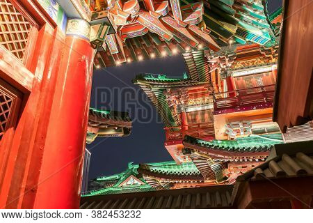 ancitent pavilion in nan chang jiang xi province China at night,All Chinese words only introduce itself which means