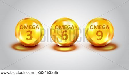Omega 3, 6, 9 Icon In Flat Style. Pill Capsule Vector Illustration On White Isolated Background. Org