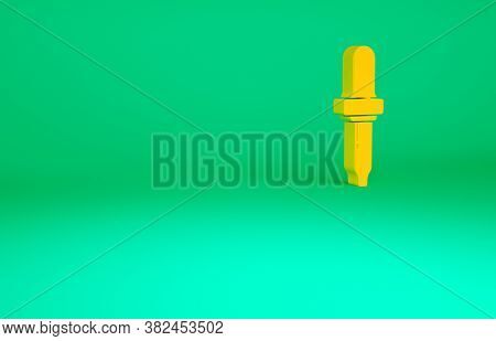 Orange Pipette Icon Isolated On Green Background. Element Of Medical, Chemistry Lab Equipment. Pipet