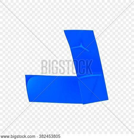 Blue Duct Repair Tape Corner Isolated On Transparent Background. Realistic Blue Adhesive Tape Piece