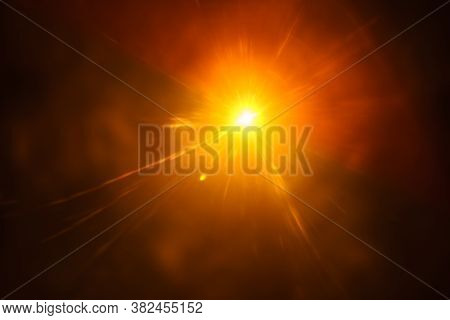 Abstract Imitation Sun Starlight Distant Galaxy On A Black Background. -image