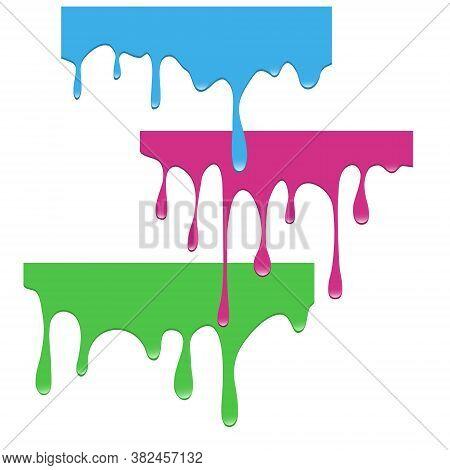 Set Of Dripping Paints. Dripping Liquid. Fluid Fluid. Spilling Paint. Falling Paint. Fluid Oil Stain