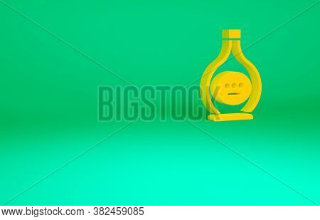 Orange Bottle Of Cognac Or Brandy Icon Isolated On Green Background. Minimalism Concept. 3d Illustra