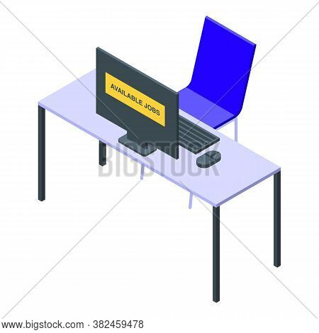 Jobless Workplace Icon. Isometric Of Jobless Workplace Vector Icon For Web Design Isolated On White
