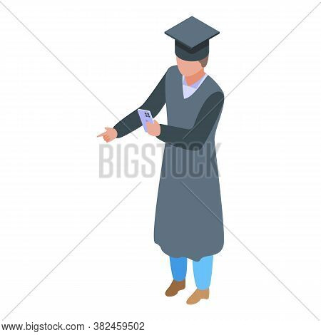 Jobless Graduated Student Icon. Isometric Of Jobless Graduated Student Vector Icon For Web Design Is