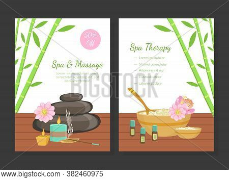 Spa And Massage, Spa Therapy Card Templates Set, Beauty Salon, Wellness Center, Relaxing Procedures,