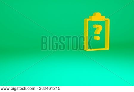Orange Clipboard With Question Marks Icon Isolated On Green Background. Survey, Quiz, Investigation,