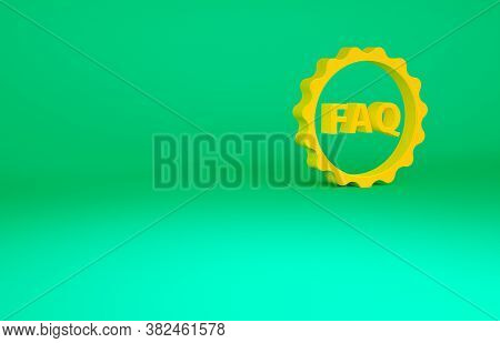 Orange Label With Text Faq Information Icon Isolated On Green Background. Circle Button With Text Fa