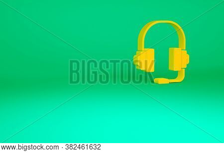 Orange Headphones Icon Isolated On Green Background. Support Customer Service, Hotline, Call Center,