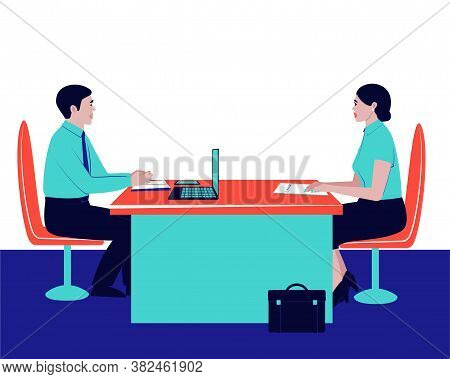 The Boss Is Interviewing A Potential Employee. Illustration With Interview. Recruitment Interview. S