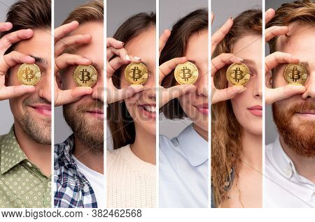 Collage Of Modern Young Men And Women In Casual Outfits Covering Eyes With Bitcoin Coins While Repre