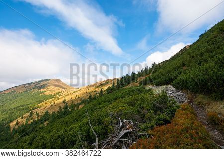 Peak Of The Mountain Strymba. Carpathian Landscape In Autumn. Path Uphill. Colorful Scenery. Clouds
