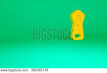 Orange Zipper Icon Isolated On Green Background. Minimalism Concept. 3d Illustration 3d Render