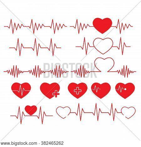 Heartbeat Line On White Background. Set Cardiogram Of Love Sign. Heart Beat Line Pulse Rhythm Symbol