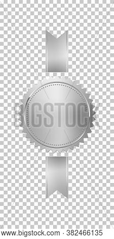 Silver Stamp With Vertical Ribbons Isolated On Transparent Background. Luxury Chrome Seal. Vector De