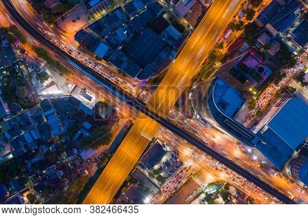 Aerial View Of Bangkok Downtown Skyline With Road Street Highways. Thailand. Financial District And