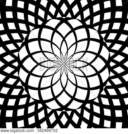 Vector Illustration Of Psychedelic Spiral Pattern. Black And White Abstract Volute Concentric Lines