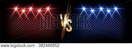 Battle Vector Banner Vector Concept. Girls And Boys Competition Illustration With Glowing Versus Sym