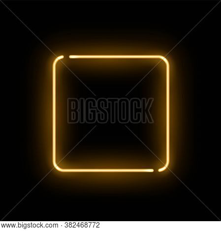 Abstract Golden Neon Luminous Square On Black Background. Glowing Yellow Discontinuous Rectangle Wit
