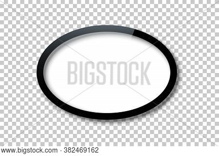 Vector Realistic Black Oval Frame Template With Empty White Copy Space Inside Isolated On Transparen