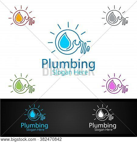Idea Plumbing Logo With Water And Fix Home Concept Design