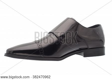 Black shoes leather men shoes against white background.