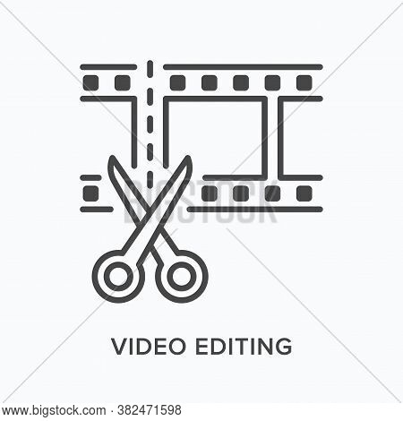 Video Edit Flat Line Icon. Vector Outline Illustration Of Movie Film With Scissors. Animation Montag