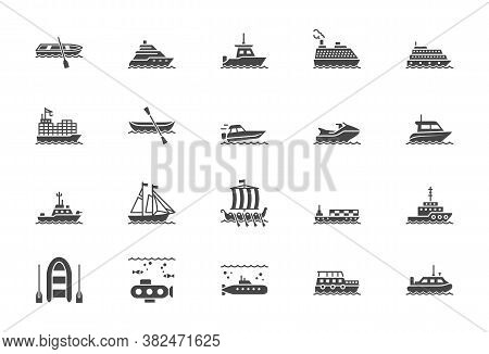 Ship, Boat Silhouette Icons. Vector Illustration Included Icon As Yacht, Cruise, Cargo Shipping, Sub