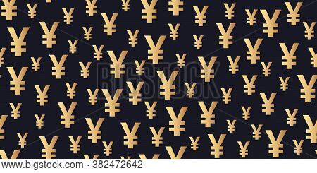 Horizontal Seamless Pattern Of The Symbols Of Yen Currency On Black. Golden Vector Background With S
