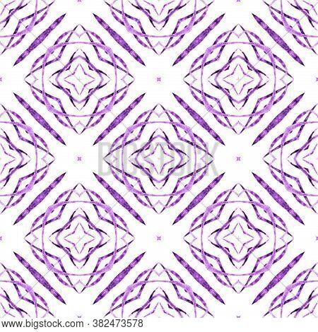 Ikat Repeating  Swimwear Design. Purple Uncommon Boho Chic Summer Design. Textile Ready Delicate Pri