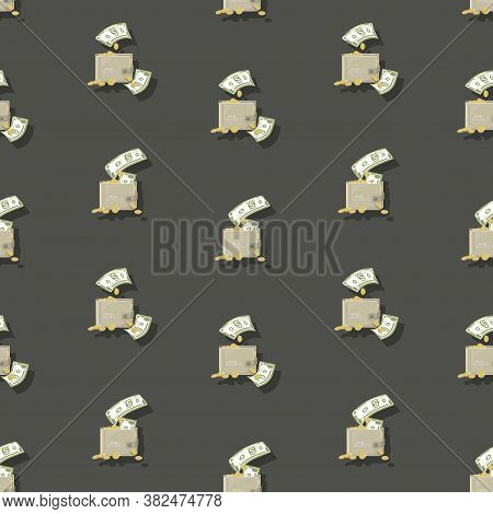 Cash Wallet. Dollars Signs, Gold Coins. Money Pattern. Falling Money Isolated On Gray Background. Am