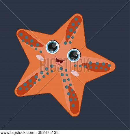 Starfish. Cartoon Starfish Vector Illustration. Sea Animal Starfish Isolated On A Dark Background. C