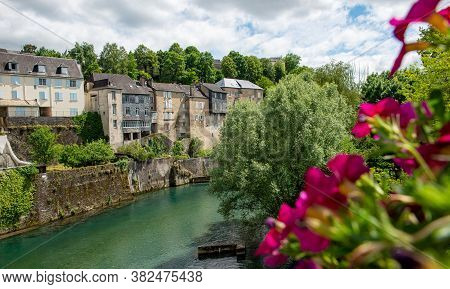 A French Landscape In The Country On The Oloron River. Oloron Sainte Marie, France