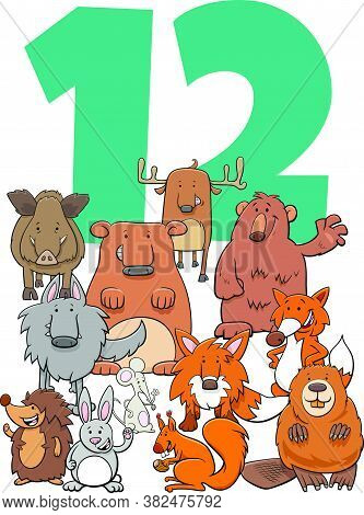 Cartoon Illustration Of Number Twelve With Funny Wild Animal Characters Group