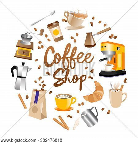 Coffee Shop Concept. Coffee Shop Round Logo With Lettering In The Middle And Coffee Beans, Crouisant