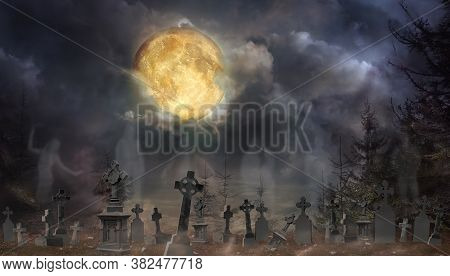 Ghosts Rising From Their Graves With Creepy Headstones At Old Cemetery On Halloween