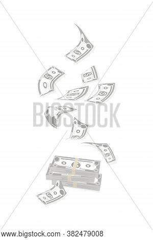 Dollar Bills. Cash Flow. American Bill. Falling Money Isolated On White Background. American Bill, C