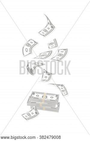 Dollar Bills. Cash Flow. American Bill. Falling Money Isolated On White Background. American Bill, C