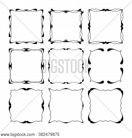Set Of Black And White Calligraphic Frames For Text. Vintage Ornament Greeting Card Vector Template.