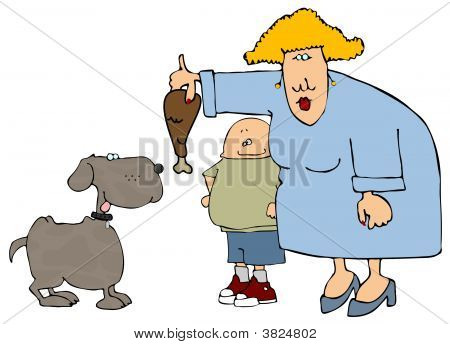 This illustration depicts a woman and child feeding a dog with a turkey drumstick. poster