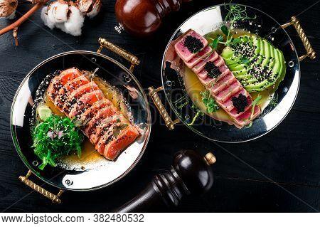 Lightly Fried Tuna, Seared Tuna And Salmon Japanese Tuna And Salmon Two Dishes Top View, Flat Lay